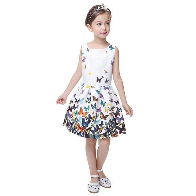 Kinder Kleine Mädchen Kleid legeres Blumen Prinzessinnen Party Schmetterling Print Weiße Ärmellose Süße Sommerkleider für 5-12-Jährige