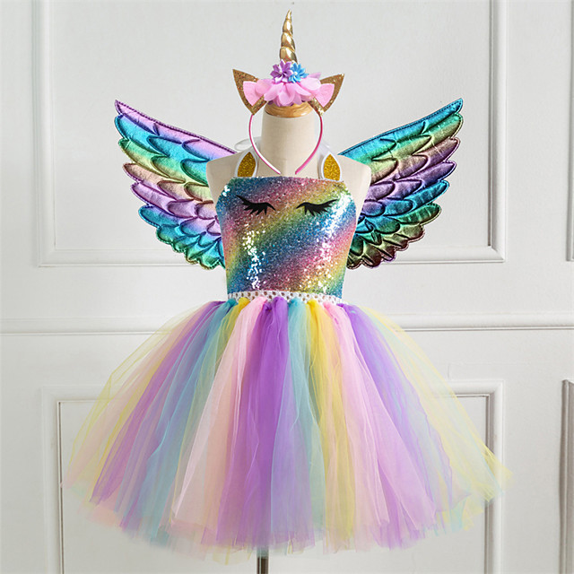Kids Little Girls' Dress 3pcs Unicorn Princess Rainbow Colorful Party Tutu Birthday Dresses With Wing and Headband Sequins Halter Purple Gold Silver Cute Dresses 2-8 Years