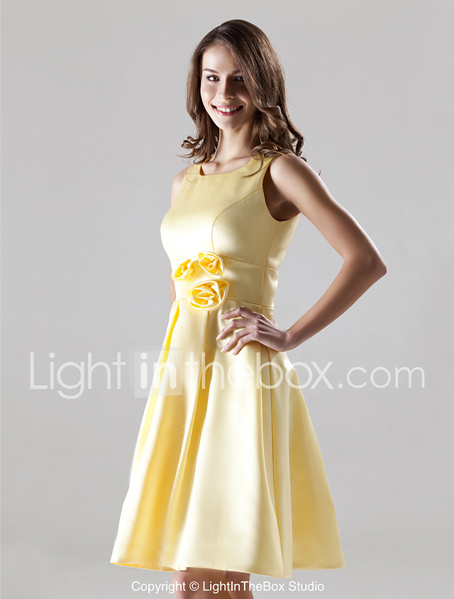 A-Line Straps Knee Length Satin Bridesmaid Dress with Draping Flower by LAN TING BRIDE® 2018 - US $79.99