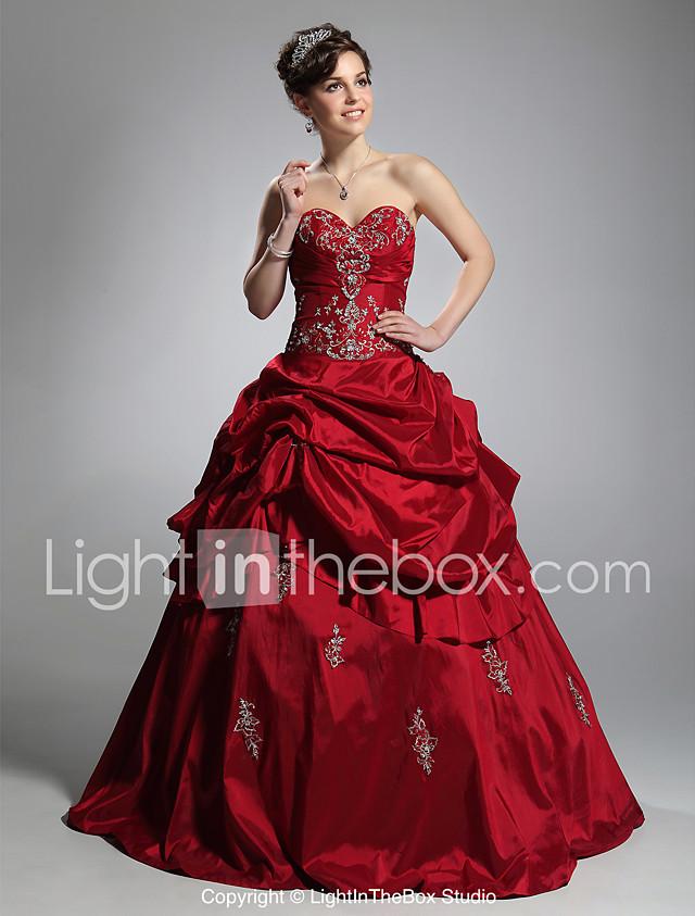 Ball Gown Sweetheart Neckline Floor Length Taffeta Formal Evening