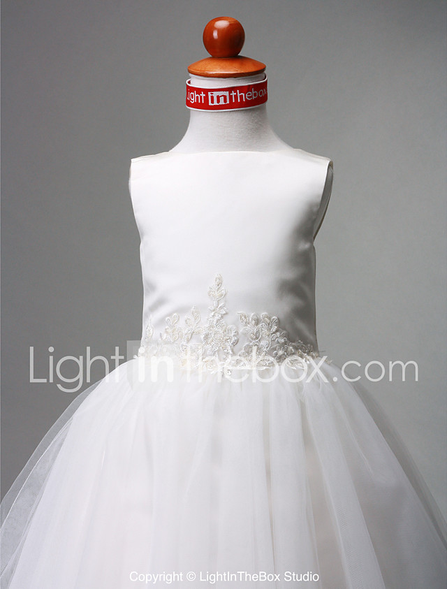 A-Line / Ball Gown / Princess Floor Length Flower Girl Dress - Satin / Tulle Sleeveless Bateau Neck with Beading / Draping by LAN TING BRIDE® / Spring / Summer / Fall / Winter / First Communion 2018 - US $47.99