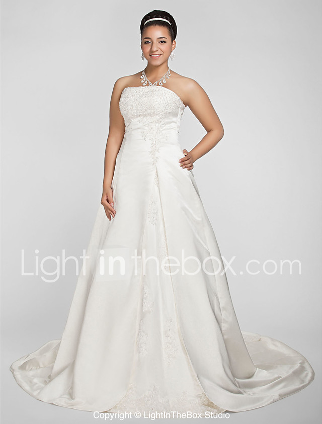 A Line Princess Strapless Chapel Train Satin Wedding Dress With Beading Appliques By LAN TING