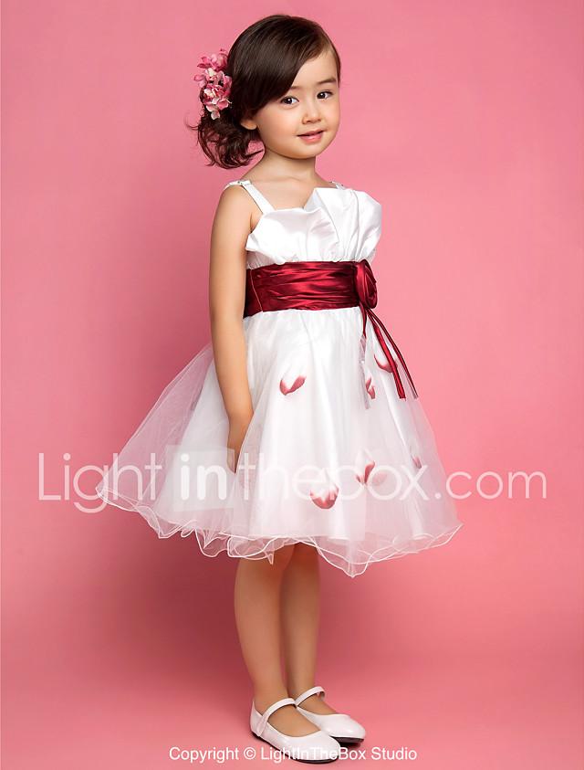Una línea princesa longitud de la rodilla vestido de niña de flores ...