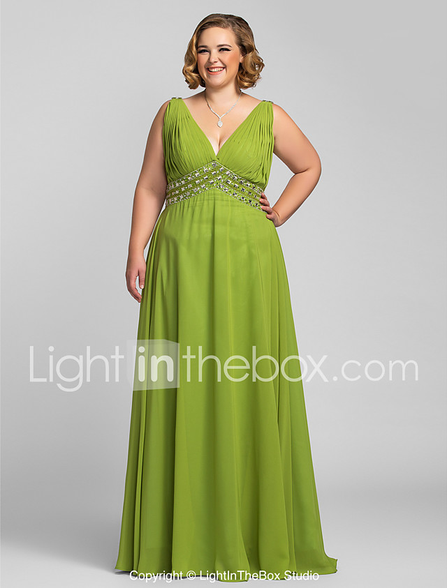 A Line V Neck Floor Length Chiffon Prom Formal Evening Dress With