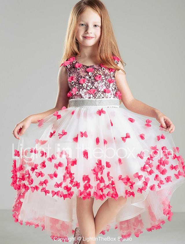 Salón Corte Vestido de Niña Florista - Satén Sin Mangas Joya con ...