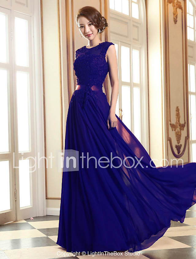 A-Line Jewel Neck Floor Length Georgette / Beaded Lace Prom / Formal ...