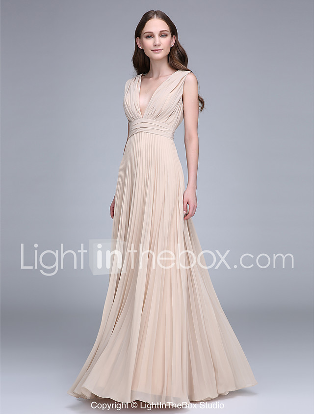 Sheath / Column V Neck Floor Length Chiffon Bridesmaid Dress with ...