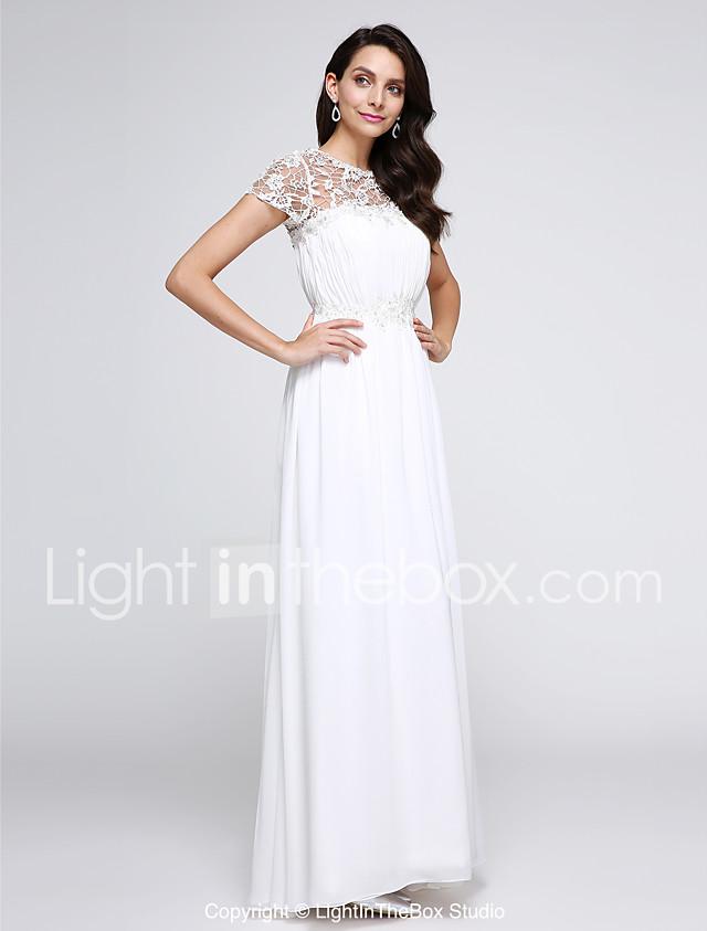 A-Line Illusion Neck Floor Length Chiffon Prom / Formal Evening ...