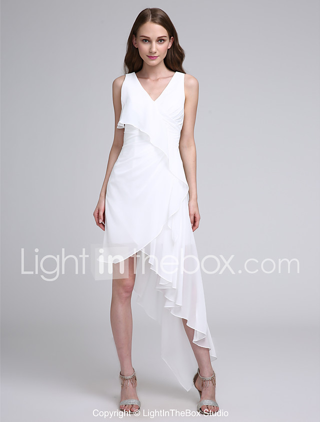 A-Line V Neck Asymmetrical Chiffon Bridesmaid Dress with Pleats by ...