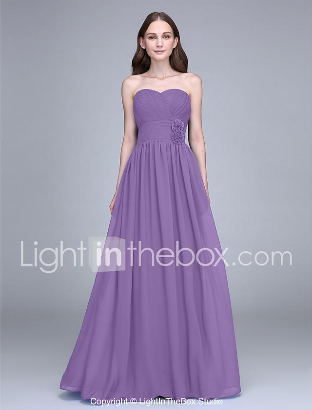 Sheath / Column Strapless Floor Length Chiffon Bridesmaid Dress with ...