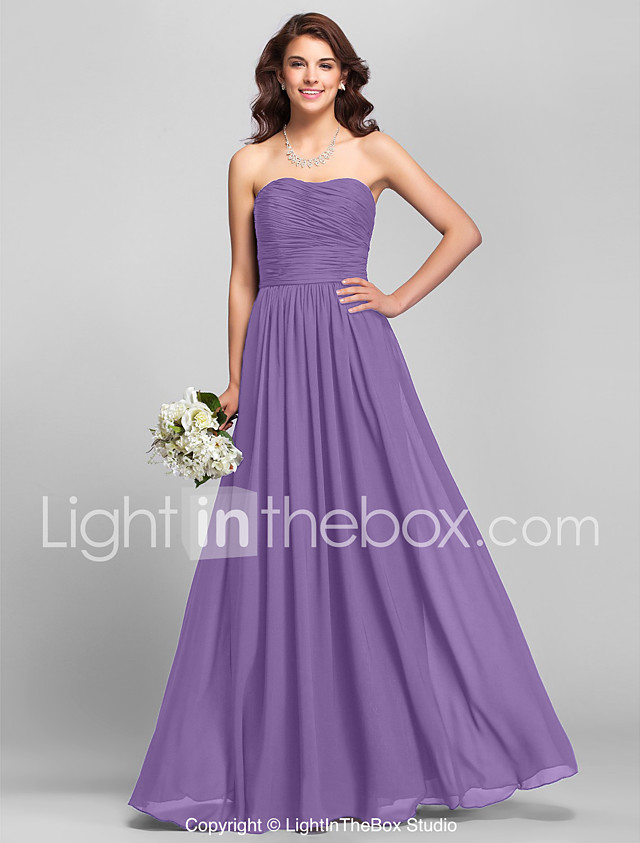 A-Line Strapless Floor Length Chiffon Bridesmaid Dress with Ruched ...