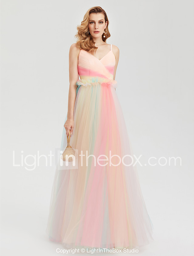 A-Line Spaghetti Straps Floor Length Tulle Prom / Formal Evening ...