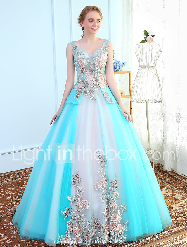 Ball Gown V Neck Floor Length Tulle Prom Formal Evening Wedding Party Dress With Embroidery By Sg 2018 179 99