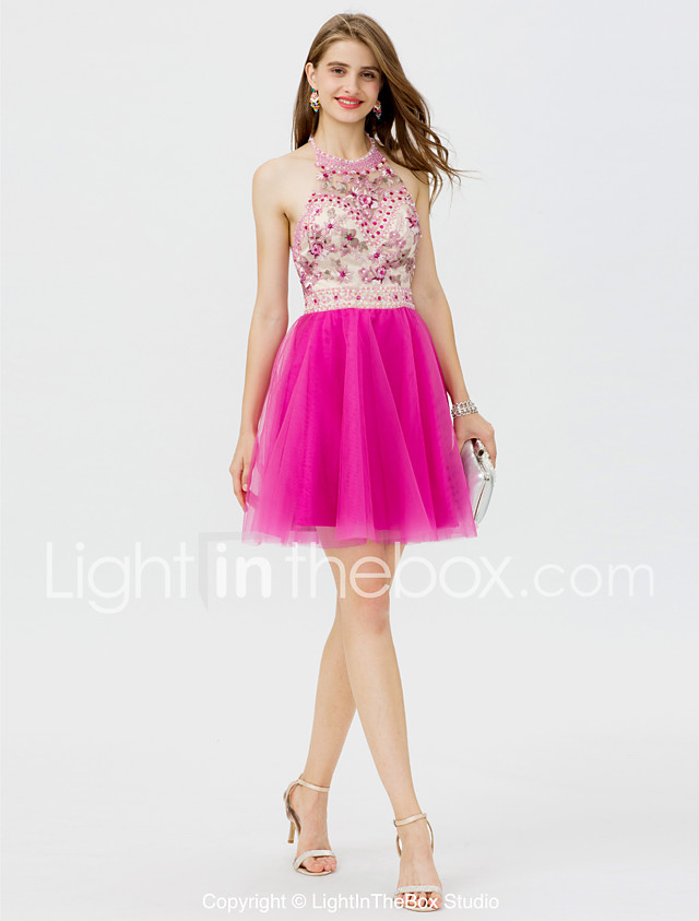 Princess Halter Short / Mini Tulle Cocktail Party / Homecoming ...
