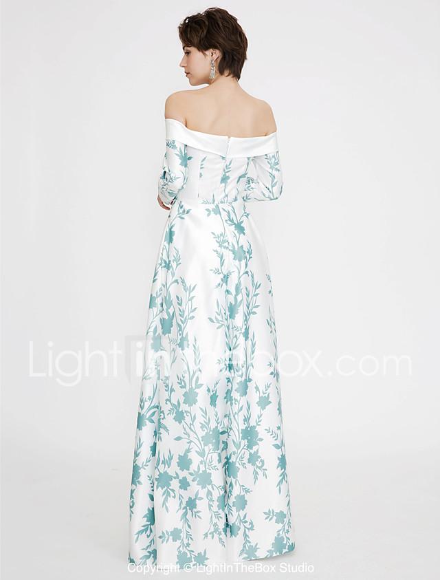 Jumpsuit Off Shoulder Floor Length Satin Color Block Prom / Formal ...