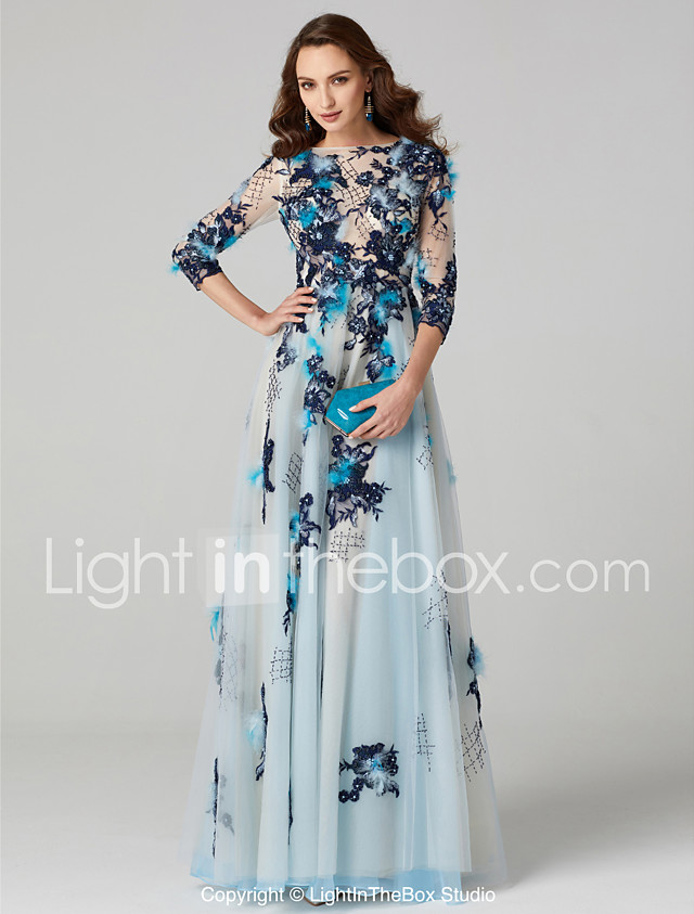 A-Line Boat Neck Floor Length Tulle Over Lace See Through Prom ...