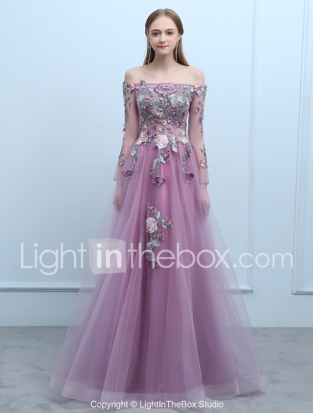 A-Line Off Shoulder Floor Length Tulle Over Lace Prom Dress with ...