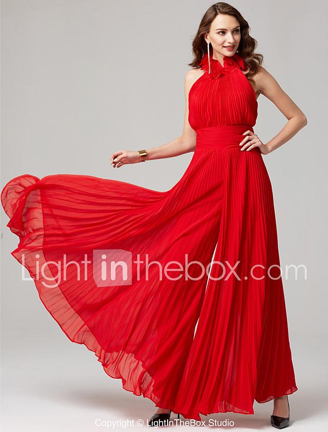 Jumpsuit Halter Neck Floor Length Chiffon Formal Evening Dress With