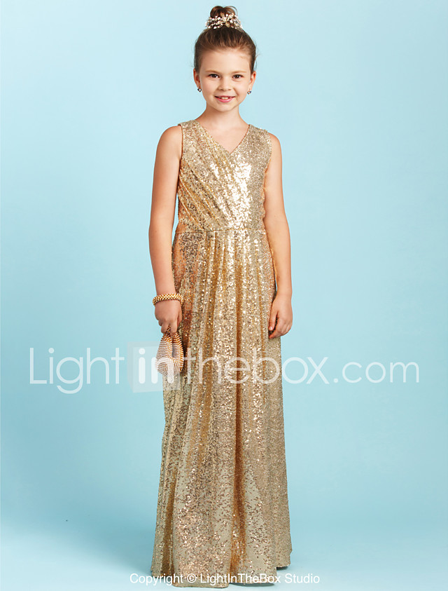 A Line Princess V Neck Floor Length Sequined Junior Bridesmaid Dress
