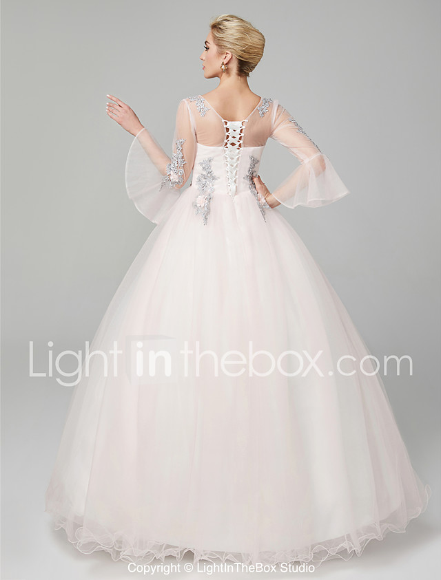 Ball Gown Illusion Neck Floor Length Tulle / Floral Lace See Through ...