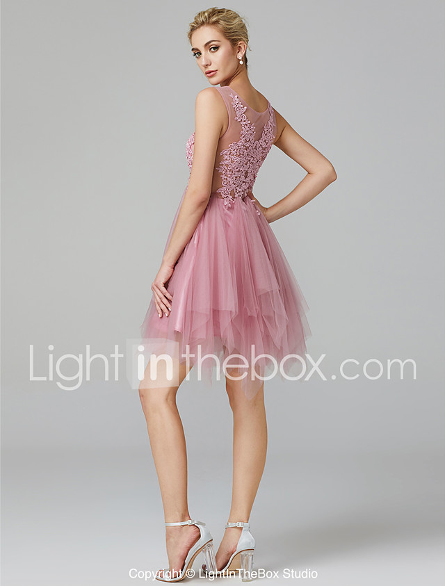 A-Line Illusion Neck Short / Mini Lace Over Tulle Beautiful Back ...