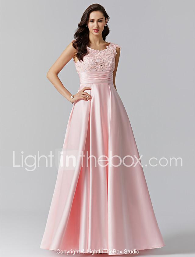 A Line Jewel Neck Floor Length Stretch Satin Formal Evening Dress