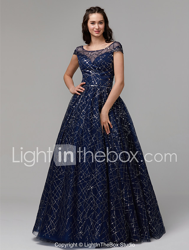Ball Gown Boat Neck Floor Length Tulle Sequined Sparkle Shine