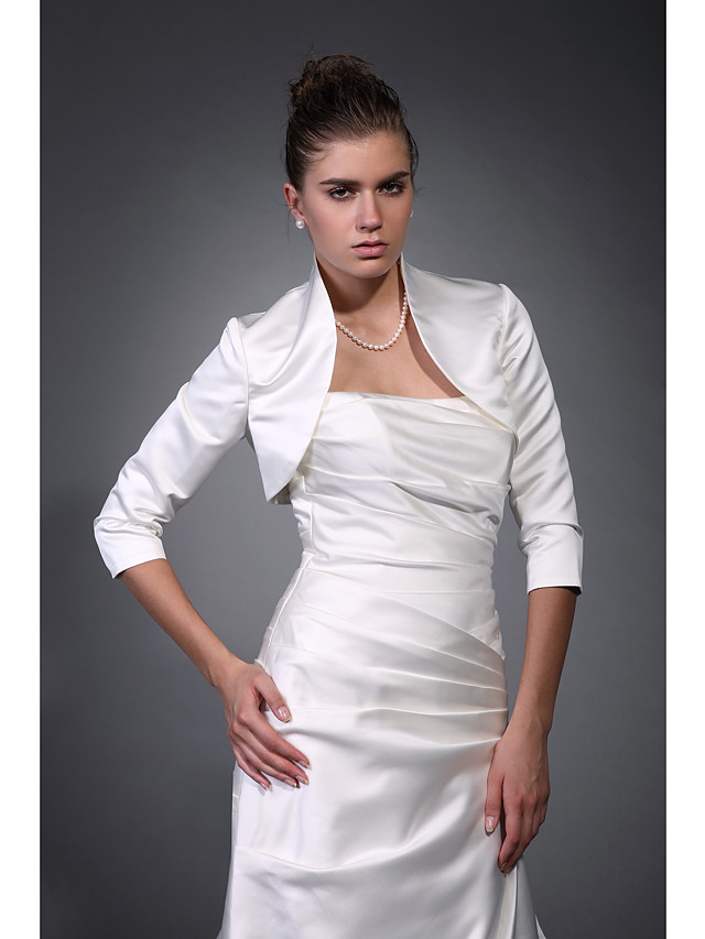 Coats / Jackets Satin Wedding / Party Evening Wedding  Wraps / Bolero With Draping / Solid