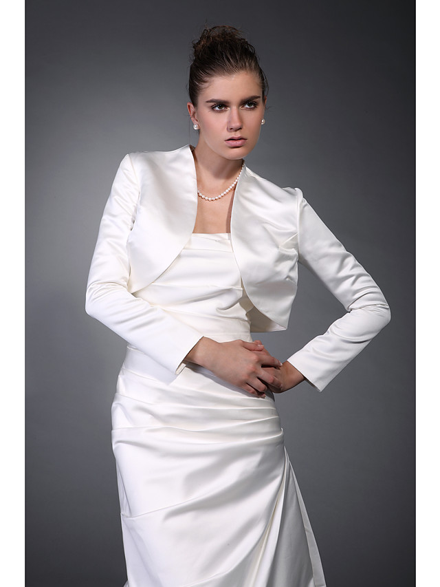 Long Sleeve Coats / Jackets Satin Wedding / Party Evening / Office & Career Wedding  Wraps With