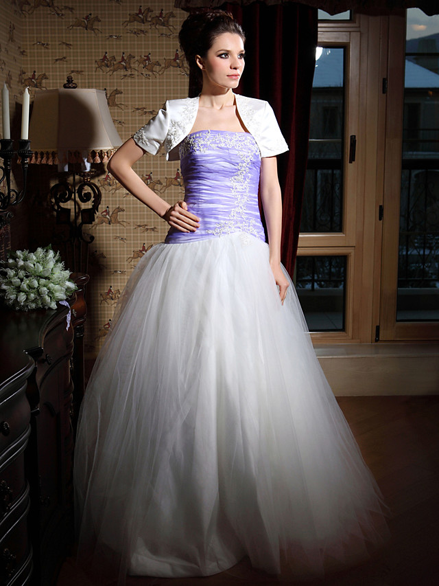 Ball Gown Quinceanera Prom Formal Evening Dress Strapless Sleeveless Floor Length Satin Tulle with Ruched Beading Appliques 2020