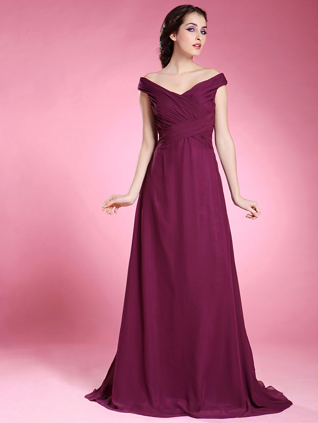 A-Line Mother of the Bride Dress Off Shoulder V Neck Floor Length Chiffon Short Sleeve with Criss Cross Side Draping 2020