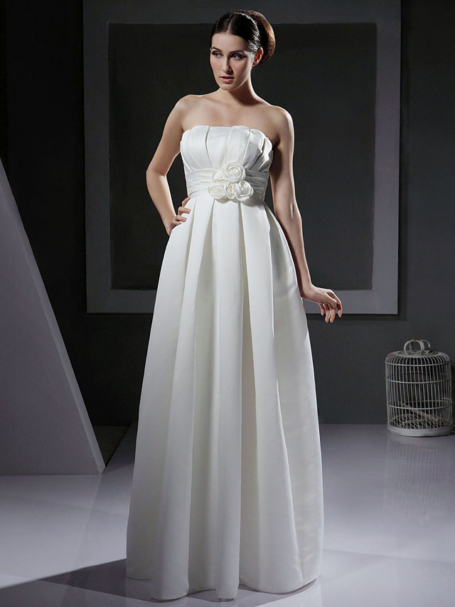 Princess A-Line Wedding Dresses Strapless Floor Length Satin Sleeveless with 2020