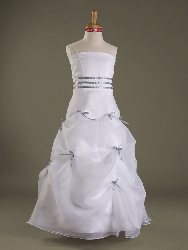 A-Line Spaghetti Strap Floor Length Organza / Satin Junior Bridesmaid Dress with Bow(s) / Pick Up Skirt / Sash / Ribbon