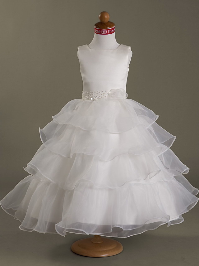 Princess / Ball Gown / A-Line Tea Length Wedding / First Communion Flower Girl Dresses - Organza / Satin Sleeveless Square Neck with Beading / Flower / Spring / Summer / Fall / Winter