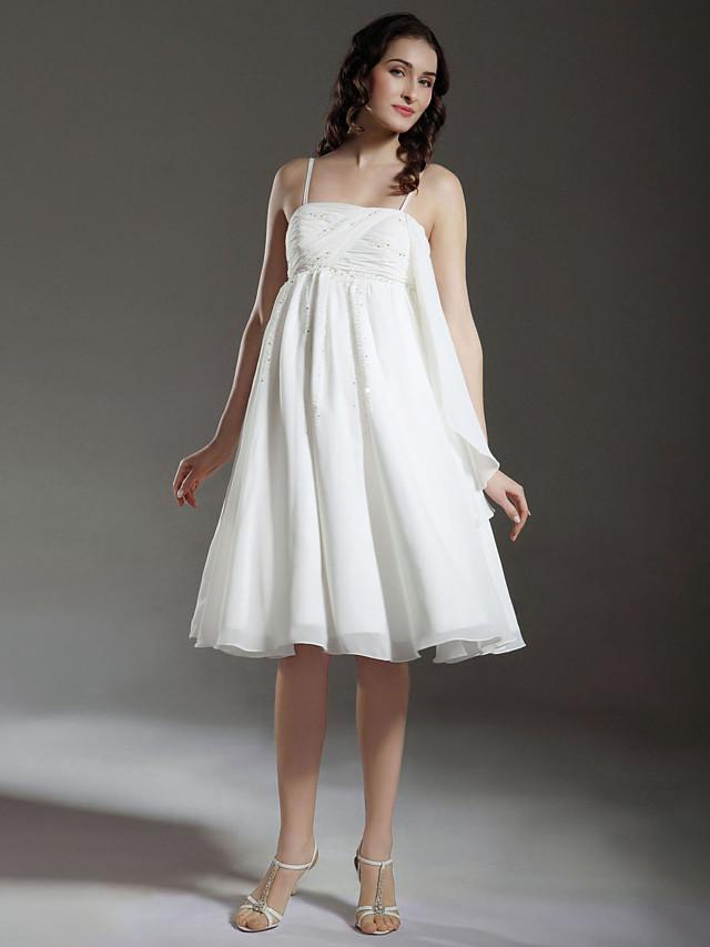 Princess A-Line Wedding Dresses Spaghetti Strap Knee Length Chiffon Sleeveless Little White Dress with 2020