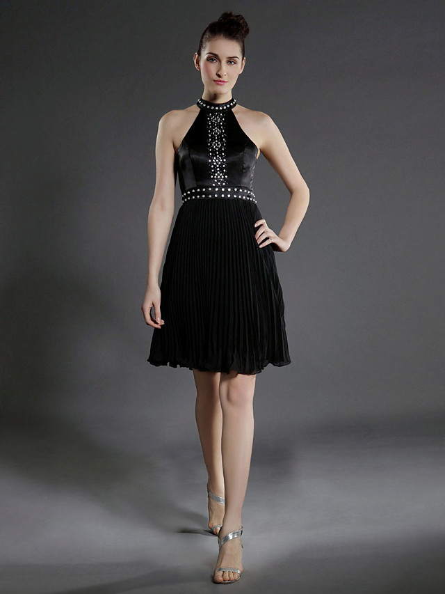 Ball Gown Little Black Dress Celebrity Style All Celebrity Styles Holiday Homecoming Cocktail Party Dress High Neck Sleeveless Knee Length Chiffon Stretch Satin with Pleats Beading 2020
