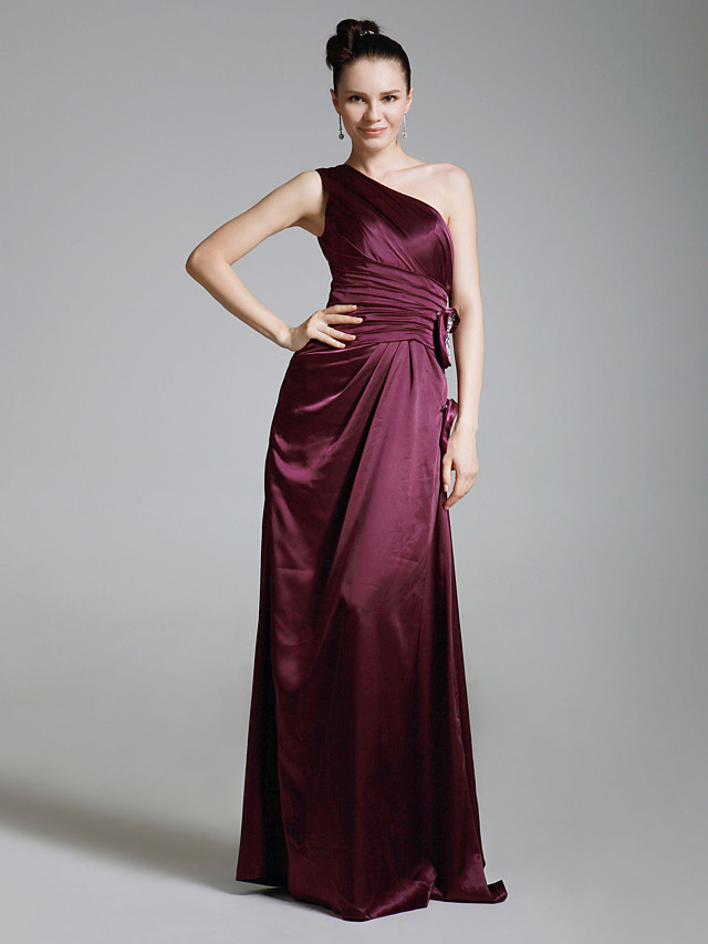 Sheath / Column One Shoulder Floor Length Charmeuse Bridesmaid Dress with Ruched / Beading