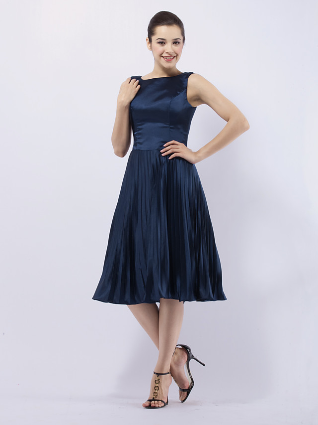 Ball Gown 1950s Celebrity Style All Celebrity Styles Cocktail Party Wedding Party Dress Bateau Neck Sleeveless Knee Length Stretch Satin with Pleats 2020
