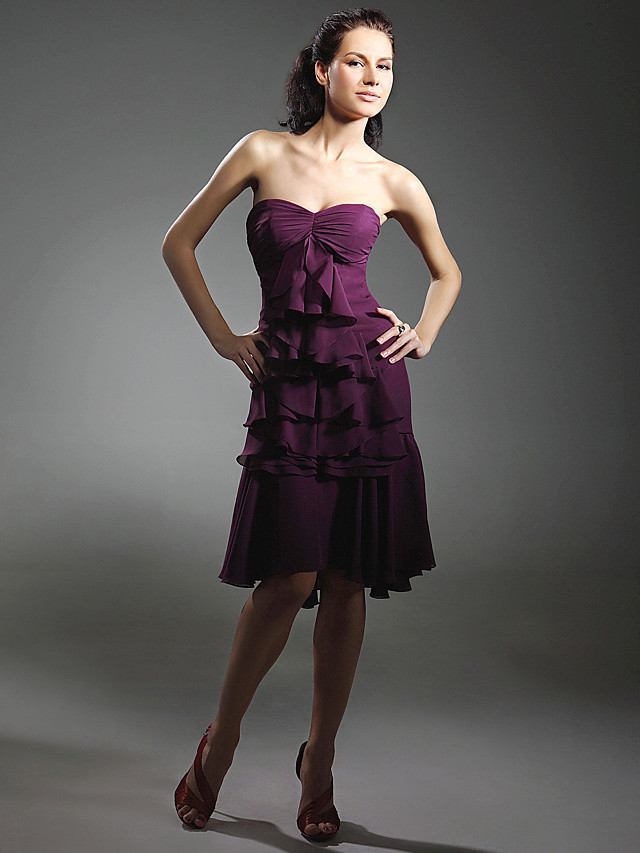 Ball Gown All Celebrity Styles Inspired by Sex and the City Homecoming Cocktail Party Dress Strapless Sweetheart Neckline Sleeveless Asymmetrical Knee Length Chiffon with Ruffles Cascading Ruffles