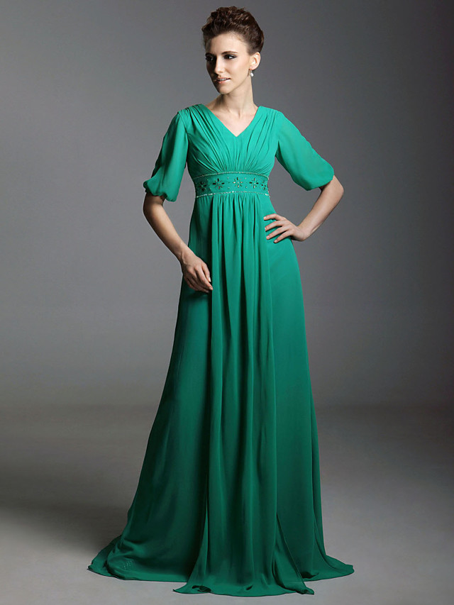 A-Line All Celebrity Styles Inspired by Golden Globe Vintage Inspired Formal Evening Military Ball Dress V Neck Half Sleeve Sweep / Brush Train Chiffon with Crystals Beading Draping 2020