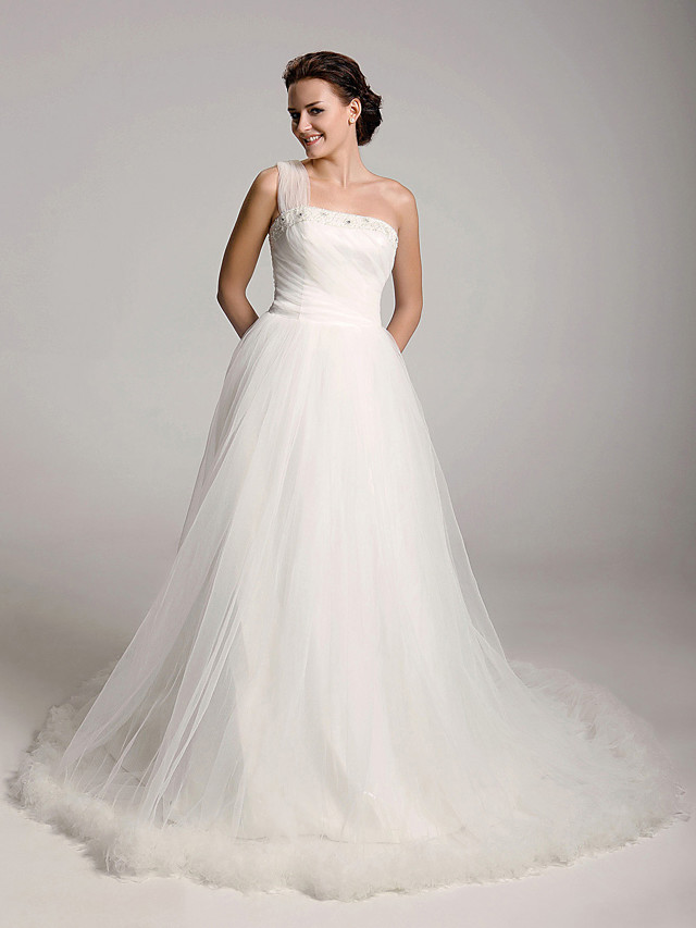Princess Ball Gown A-Line Wedding Dresses One Shoulder Court Train Satin Tulle Sleeveless with 2020
