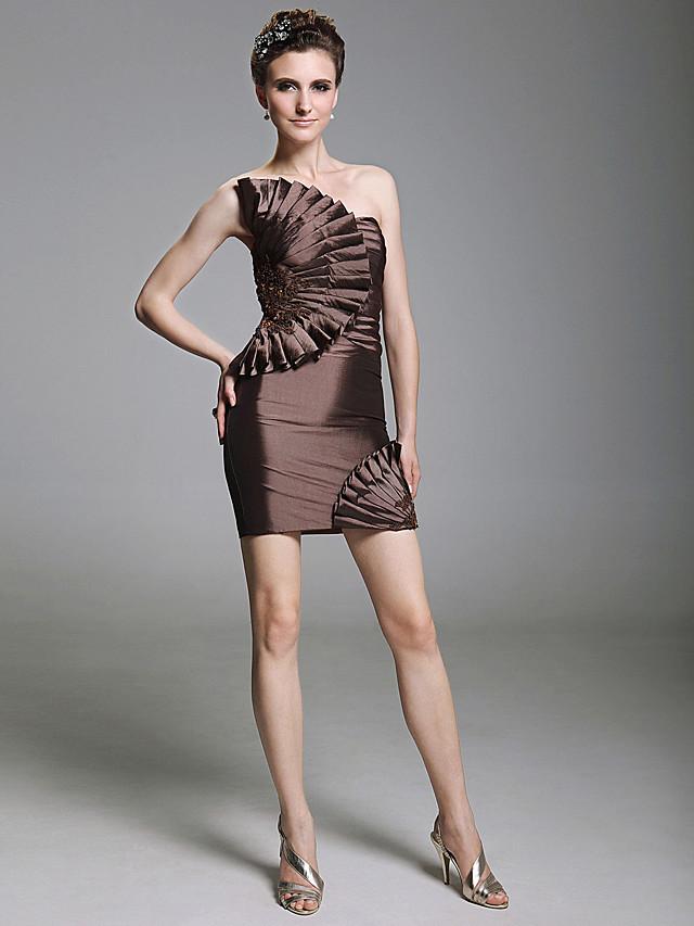 Sheath / Column Homecoming Cocktail Party Dress Strapless Sleeveless Short / Mini Taffeta with Beading Ruffles Appliques 2020