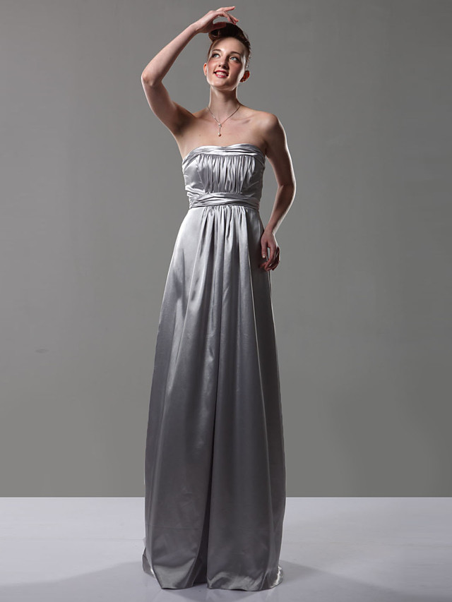Sheath / Column Strapless Floor Length Charmeuse Bridesmaid Dress with Draping
