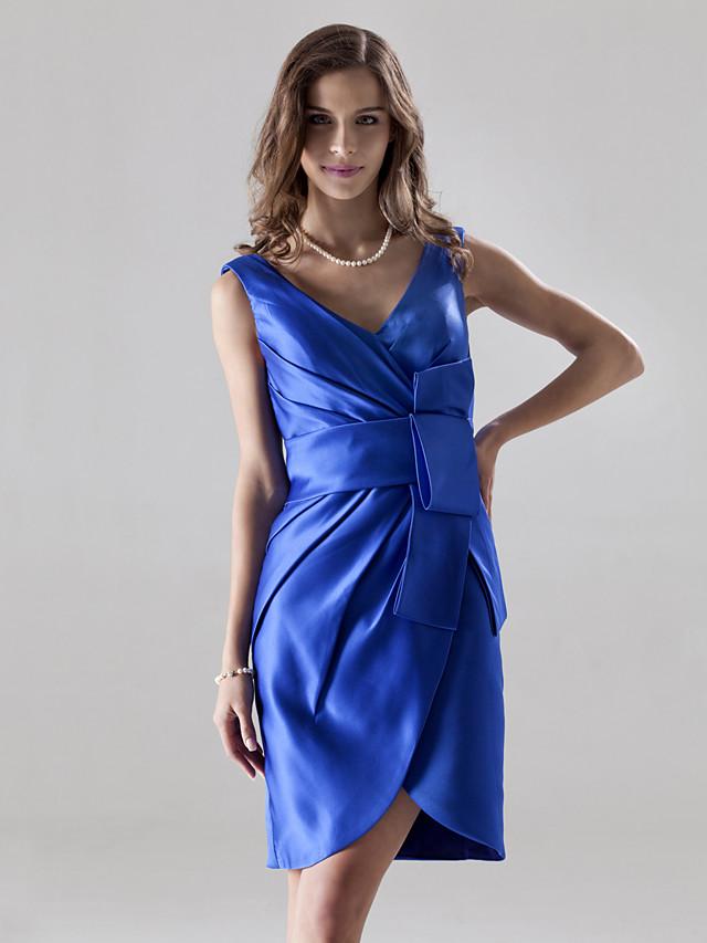 Sheath / Column V Neck Knee Length Satin Bridesmaid Dress with Bow(s) / Side Draping