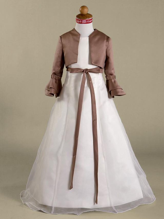 Long Sleeve Shrugs Satin Wedding / Party Evening Kids' Wraps With Ruffles