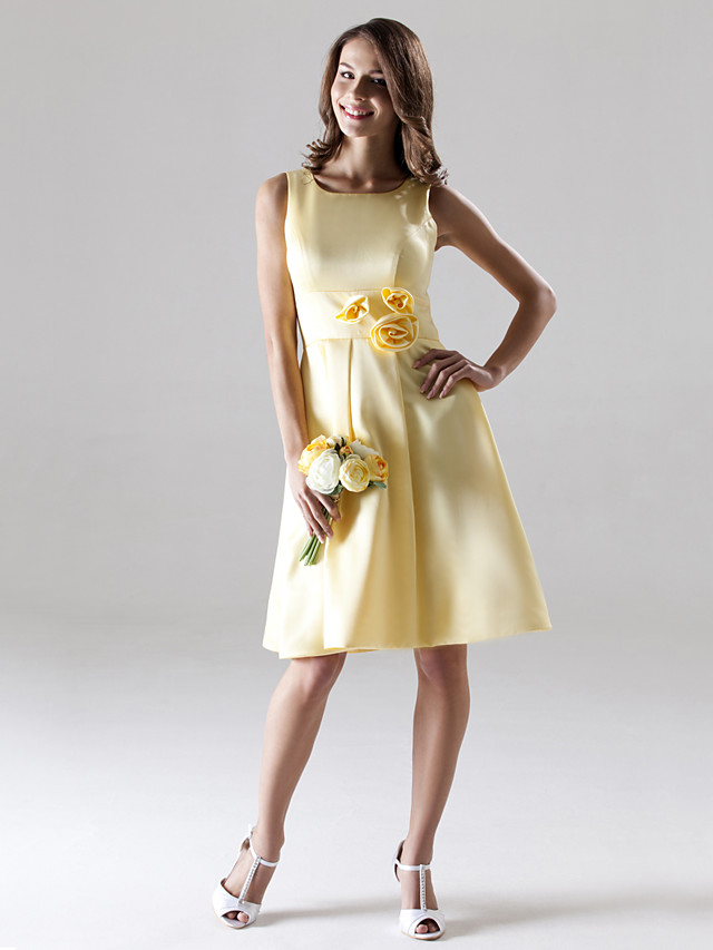 A-Line Straps Knee Length Satin Bridesmaid Dress with Draping / Flower