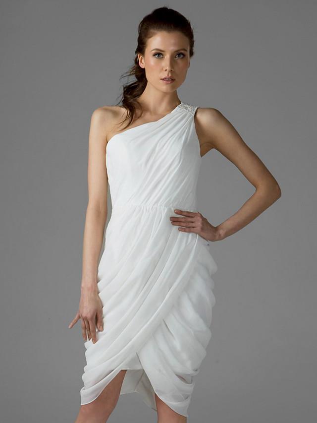 Sheath / Column One Shoulder Knee Length Chiffon Bridesmaid Dress with Side Draping