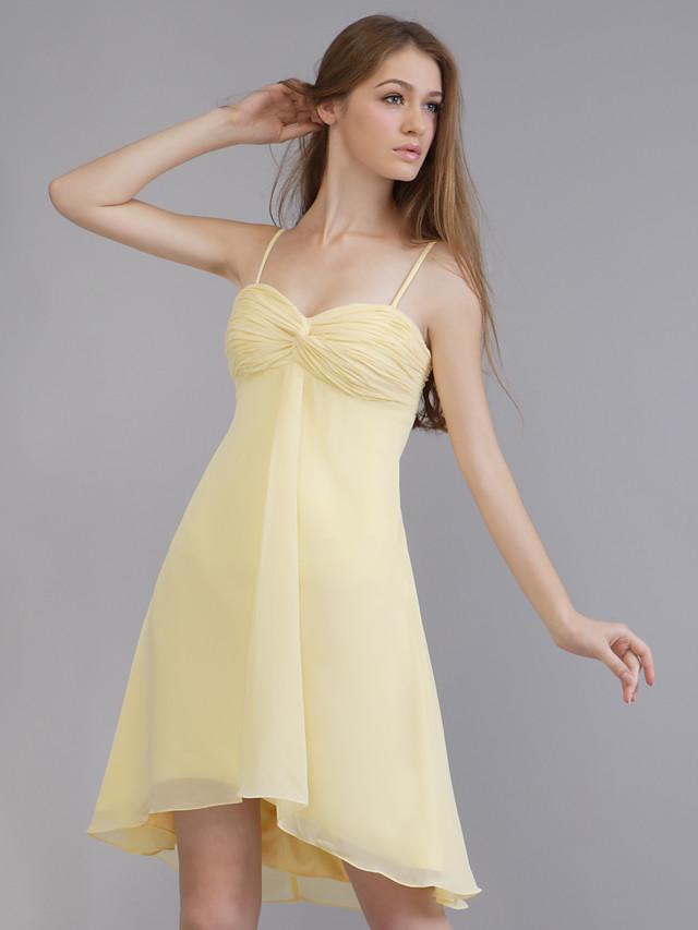 A-Line Wedding Party Dress Spaghetti Strap Sleeveless Short / Mini Chiffon with Criss Cross 2020