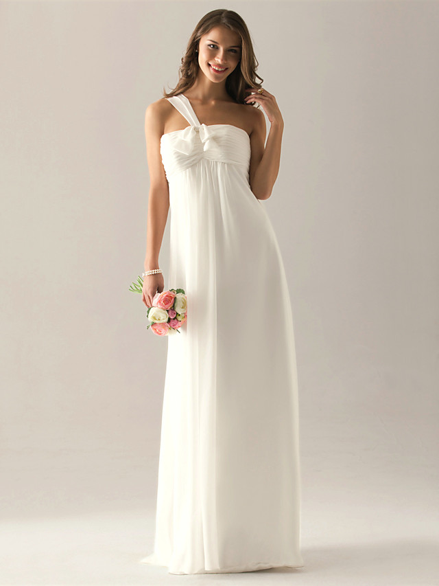 Sheath / Column One Shoulder Floor Length Chiffon Bridesmaid Dress with Bow(s) / Ruched / Pleats