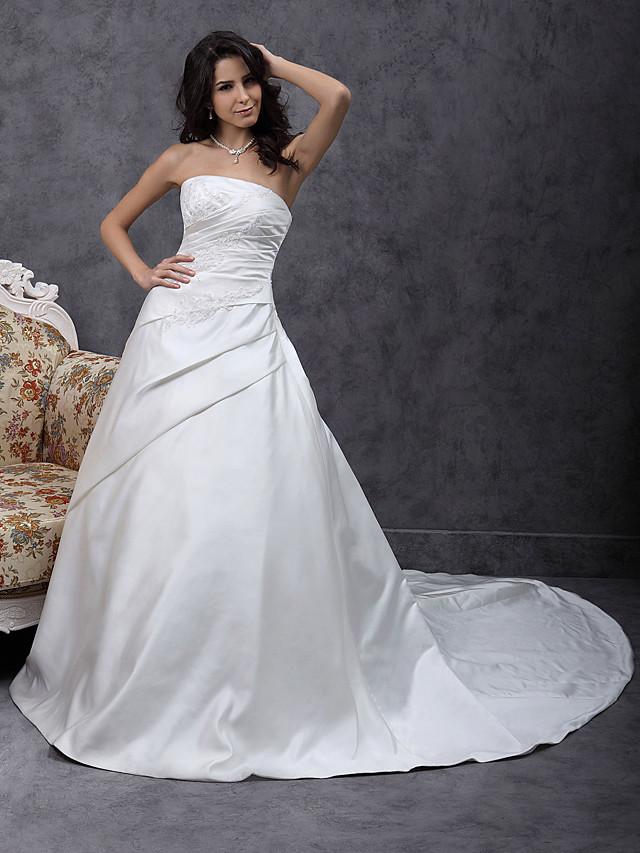 Princesse Trapèze Robes de mariée Sans Bretelles